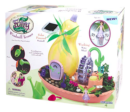 My Fairy Garden 3665 Windmill Terrace Solar Power Playset - Grow Your Own Magical Garden!, Yellow/Pink/Green/Purple