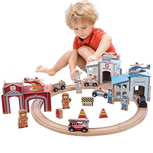 On Track USA 3 in 1 Emergency Police, Fire and Hospital Rescue Train Expansion Set, 40 Piece Accessories Set Compatible with Thomas, Brio, Melissa and Doug (Tracks Not Included) (Train Track Station)