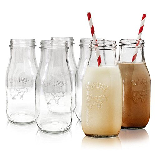"10.5 oz. ""Dairy"" Reusable Glass Milk Bottles, Set of 6, Clear Beverage Glassware and Drinkware for Everyday Use, Parties, Weddings and - Set Rustic Tumbler"