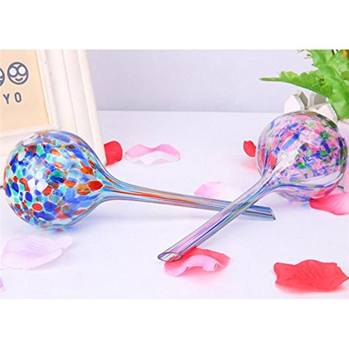 Godagoda Self Watering Globes Mini Glass Plant Automatic Waterer Decorative Watering Bulbs Flowers Irrigation Tool (Multi-colored)