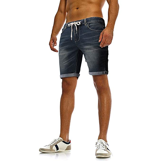 RYTEJFES Pantalón Corto Mezclilla para Hombre Verano Moda ...