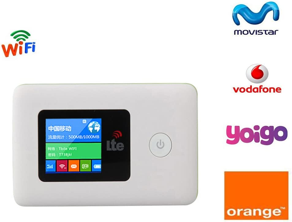 Tianjie 100Mbps 4G WIFI Router Mobile Hotspot Car Mifem Pocket Módem móvil inalámbrico de banda ancha Pocket Unlocked Dongle Soporte Movistar / Naranja / Vodafone / Yoigo, B3 (2100mhz): Amazon.es: Electrónica