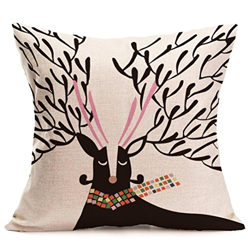 "Gotd Christmas Elk Pattern Square Decorative Linen Pillowcases Throw Pillow Case Cushion Cover 18 X 18"" Christmas Gifts Decorations Ornaments Decor (10)"