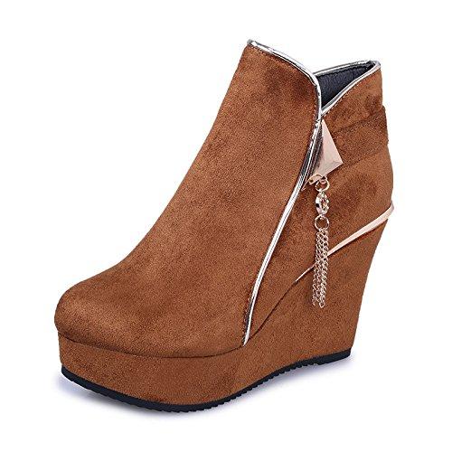 KHSKX-New Short Boots And Short Boots Women Autumn And Winter Sanding Slope And Short Zipper Side Zipper Thirty-six