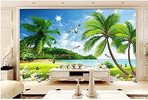 Wall 3d coconut tree landscape setting wall mural