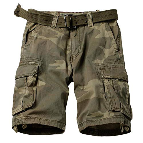Loose Fit Twill - AKARMY Men's Multi Pocket Loose Fit Cotton Twill Cargo Shorts 8062 C34 Retro Camo Thick 38