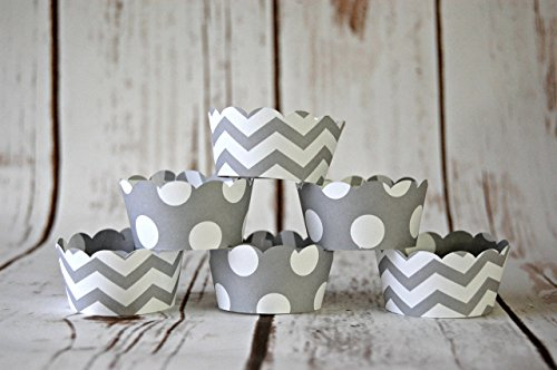 MINI Cupcake Wrappers, Grey Chevron Cupcake Wrappers, Reversible Cake Wraps, Cupcake Decoration (set of 12)