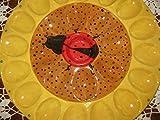 USA hand painted large full dozen deviled egg platter of sunflower and ladybug