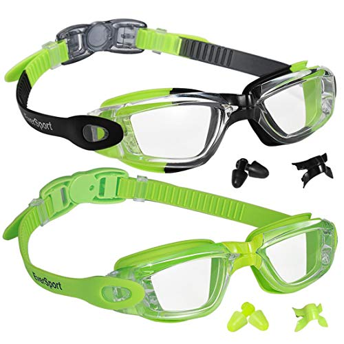EverSport Kids Swim Goggles 2 Pack, Green/Black & Green, Swimming Goggles for Teenagers, Anti-Fog Anti-UV Youth Swimming Glasses, Leakproof, Free Ear Plugs, one Button Open Straps, for 4-15 Y/O