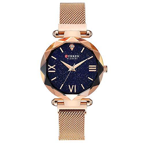 Women Watches,CURREN Gold Toned Quartz Analog,Dress Watch Starry Sky Diamond Magnetic Buckle Bracelet,Wrist Watch for Women, Fashion Waterproof Mesh Band-Gold