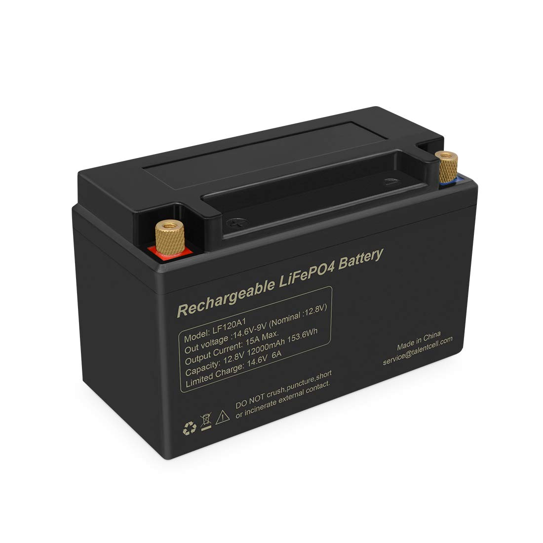 TalentCell LF120A1 Rechargeable 153.6Wh 12V 12Ah Lithium Iron Phosphate (LiFePO4) Battery Pack