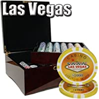 750 Ct Las Vegas 14 Gram Poker Chip Set in Mahogany Wooden Case w/ High Gloss Finish - Free Dealer Button and Cards