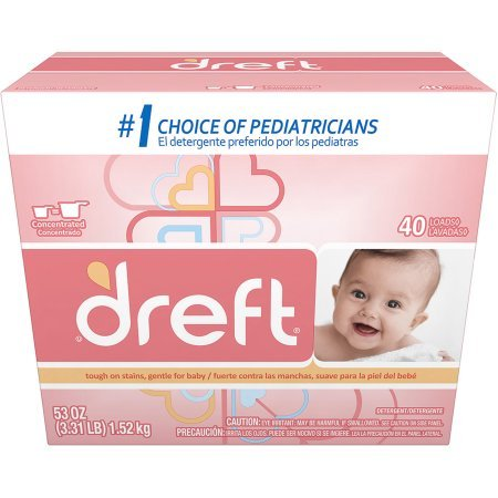 Dreft Baby Original Scent Powder Laundry Detergent,Recommended by Pampers, 40 Loads, 53 oz (1) (1) by by Dreft
