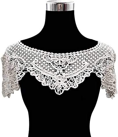 1 Pcs Lace Embroidered Floral Collar Applique for Clothes Thirt Neckline Trim Sewing by UBOOMS