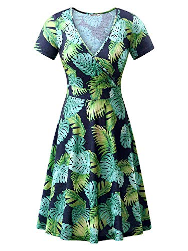 (MSBASIC Short Sleeve Leaf Print Dress Sundresses for Women Blue Green Leaf)