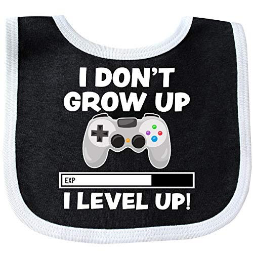 (Inktastic - I Dont Grow Up I Level Up with Game Baby Bib Black/White)
