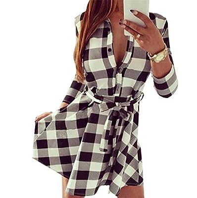 KLJR-Women Casual 3/4 Sleeve Button-Front Belt Plaid Mini Shirt Dress