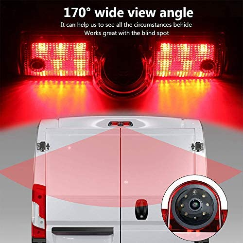 Chevy Rear View Camera Backup Camera Replace Third Brake Light for Chevrolet Express GMC Savana Cargo Van Transporter Savana Explorer 2003-2018 Year,with Roof Top Mount