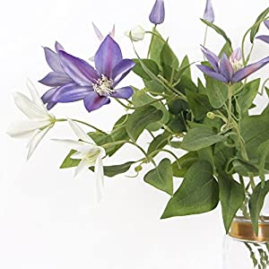 """G Home Collection Silk Clematis Stem in Purple or White 28"""" Tall 1"""
