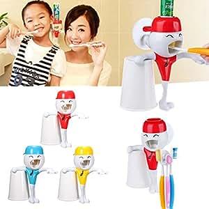 Calli Los niños de dibujos animados divertido exprimidor de pasta de dientes automático con cepillo de dientes titular: Amazon.es: Hogar