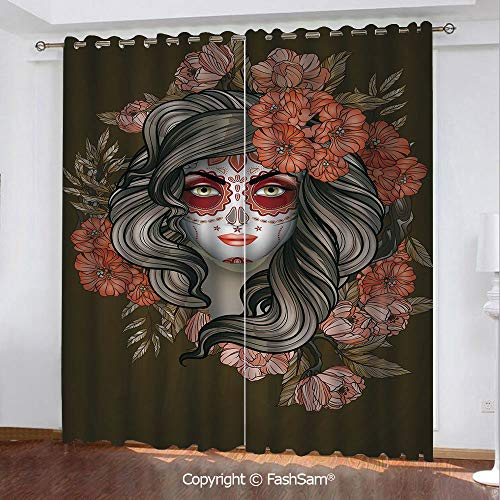 Printed Blackout Curtains Spanish Woman with Festive Calavera Makeup Art and Flower Blooms Decorative Printed Curtain for Living Room(108