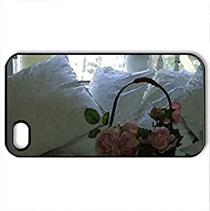 bedroom rosCase For Ipod Touch 4 Cover (Houses Series, Watercolor style, Black)