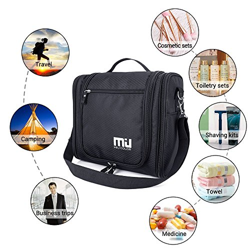 Travel Hanging Toiletry Bag, Waterproof Cosmetics Makeup Toiletry Organizer, Compact Bathroom Storage Organizer, Travel Kit Perfect For Beauty Accessories, Personal Items, Shampoo and Body Wash by MIU COLOR (Image #6)