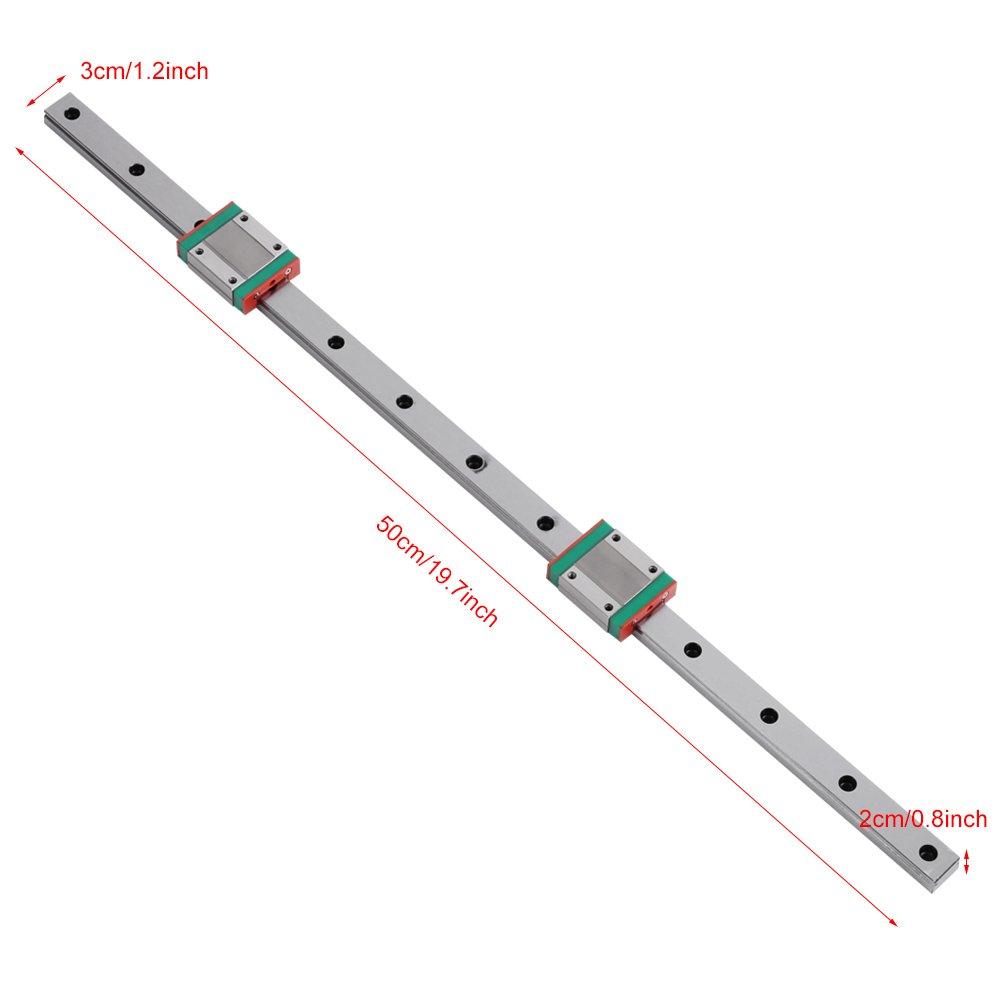 Miniatura de riel de gu/ía lineal 2pcs Conjunto de bloques deslizantes Gu/ía de riel deslizante de metal de alta precisi/ón 500 mm de largo