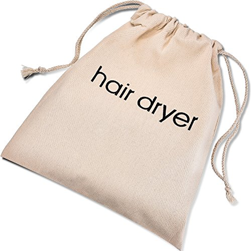 Bememo Hair Dryer Bags Cotton Drawstring Bag Container Hairdryer Bag, 11.8 by 13.8 Inch, Beige