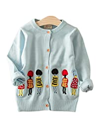 Baby Little Girls Spring Autumn Cartoon Embroidery Button Front Cardigan Sweater