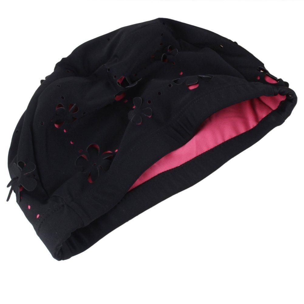 Womens Ladies Flower Floral Hollow Swimming Hat Bathing Shower Swim Caps Black Refaxi