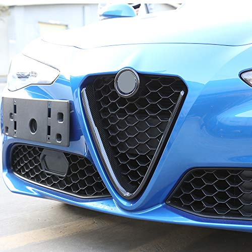 LLKUANG Carbon Fiber Style ABS Plastic Front Grills Decoration Frame Trim for Alfa Romeo Giulia 2017 2018 2019