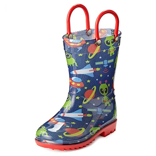 Puddle Play Toddler and Kids Rain Boots with Easy On Handles - Boys and Girls Colors and Designs (12 M US Little Kid, Space Aliens )