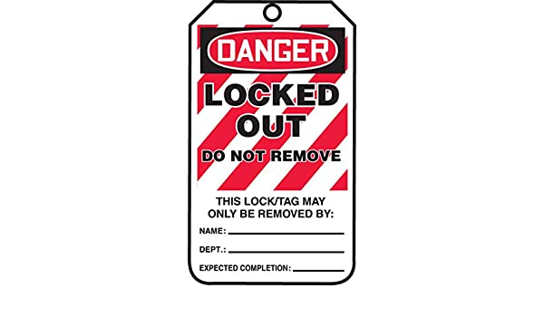 Accuform MLT418PTM RP-Plastic Lockout Tag Pack of 5 LegendDanger Locked Out Do Not Remove Red//Black on White 5.75 Length x 3.25 Width x 0.015 Thickness
