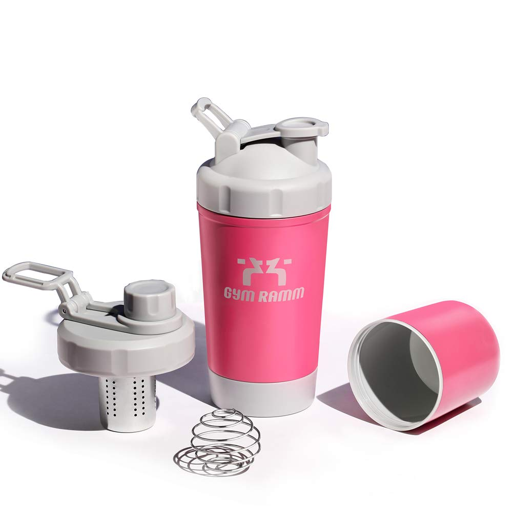 KneaBorn Protein Shaker Bottle with Storage - 18 oz Protein Shaker Bottle Cup BPA-Free 316 Medical-Grade Stainless Steel Double-Wall Vacuum Insulated with 2 Lids Pink Color
