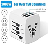 Travel Adapter - 2000W International Power Adapter - All in One Universal Power Adapter with 4 Quick Charge USB 3.0 Ports - for UK - EU - AU - US - Over 150 Countries (White)
