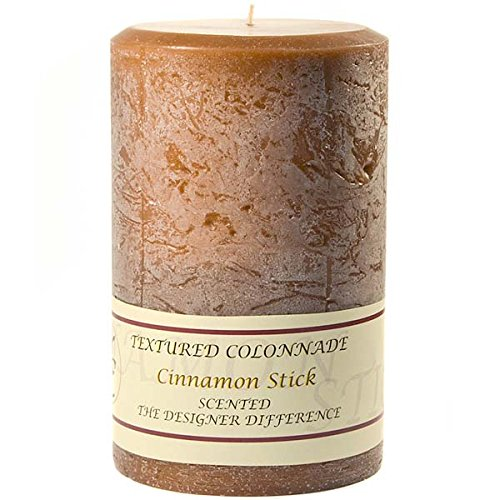 Textured 4x6 Cinnamon Stick Pillar Candle For Wedding/Dinner, Holiday Event, Home Decoration, 70 to 90 hours, 4 in. diameterx6.25 in. tall, 1 Piece