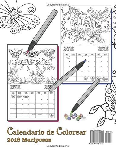 Amazon.com: Calendario de Colorear 2018 Mariposas (Spanish Edition ...