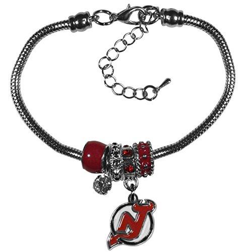 NHL New Jersey Devils Womens Siskiyoueuro Bead Bracelet, Red, 7.5