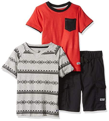 (Beverly Hills Polo Club Boys' Toddler 3 Piece Short Set, Midnight Print 4T)