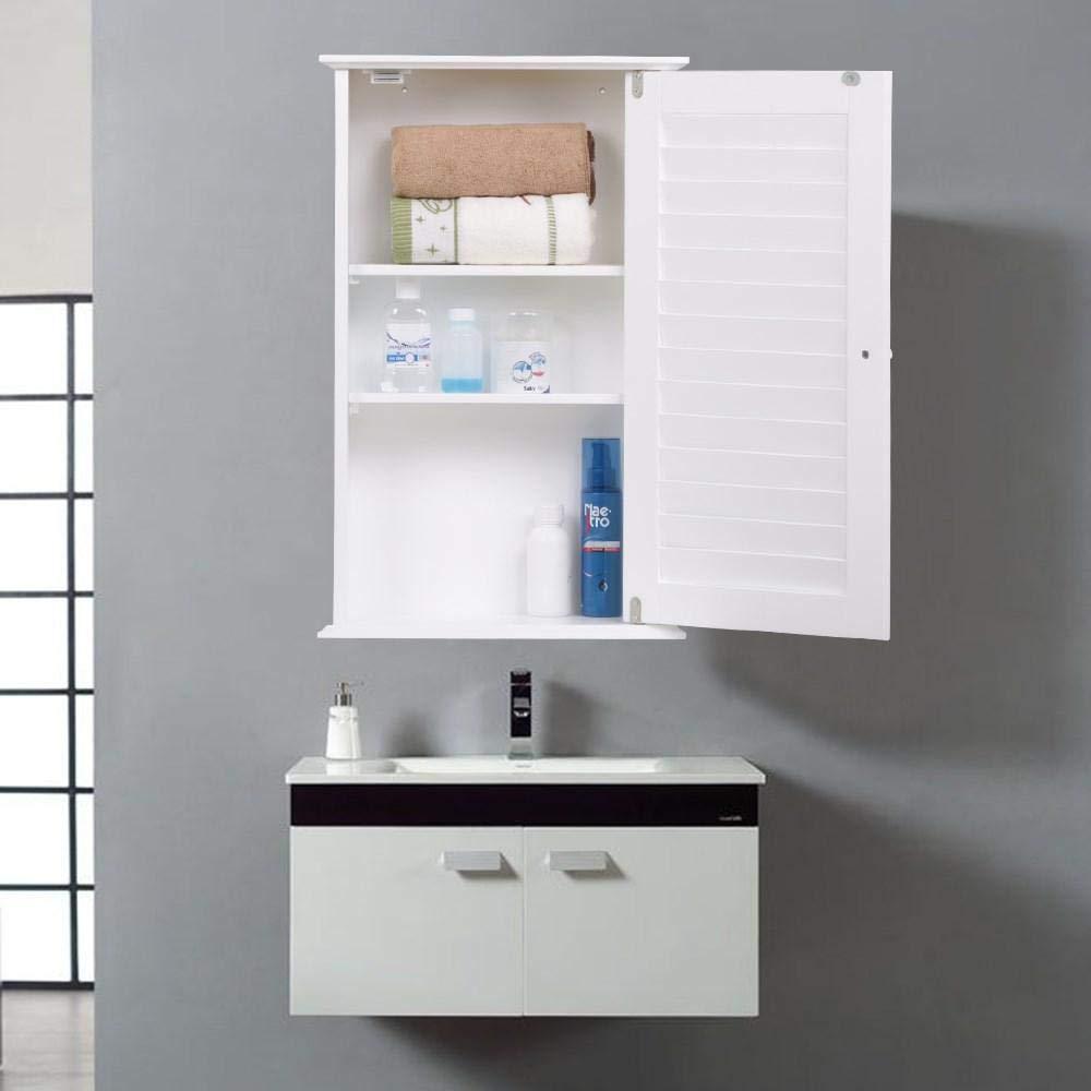 go2buy White Wood Bathroom Wall Mount Cabinet Toilet Medicine Storage Organizer Single Door Adjustable Shelves