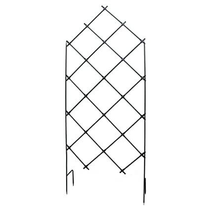 Bon Achla Designs FT 30 Freestanding Lattice Wrought Iron Garden Trellis,  Graphite