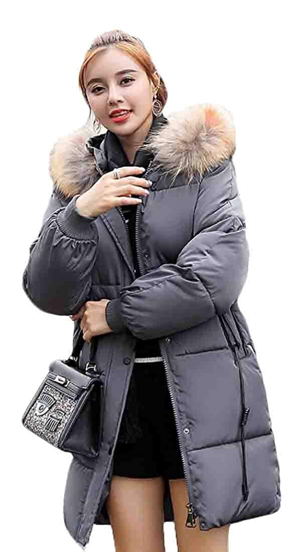 Gery jxfd Women Warm Long Sleeve Faux Fur Collar Hooded Parka Outwear