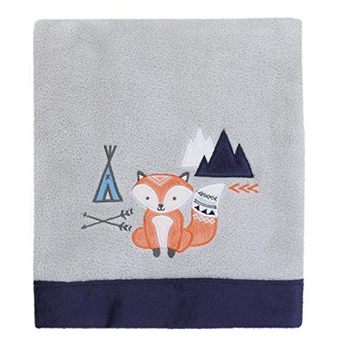 (NoJo Aztec Mix & Match Super Soft Appliqued Baby Blanket, Grey, Navy, Orange, Fox)