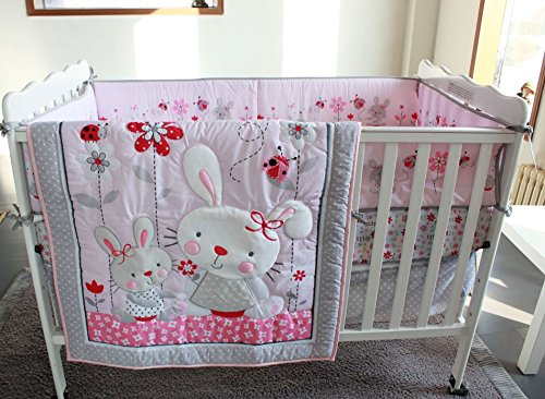 NAUGHTYBOSS Girl Baby Bedding Set Cotton 3D Embroidery Rabbit Flowers Insects Quilt Bumper Mattress Cover Bedskirt 7 Pieces Set White Pink