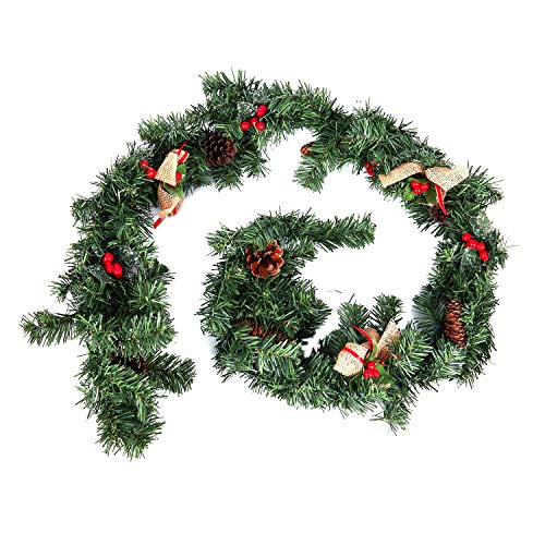 Botique - 1.8M /6Ft Christmas Garlands for Fireplaces Artificial Wreath Garland with Berries Pinecones and Burlap Bowknots Xmas D