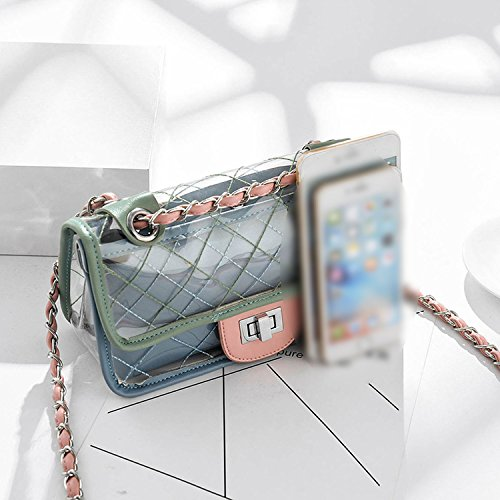 jelly chain female Jelly Fashion shoulder casual Green plaid transparent bag bag 2018 summer bag Messenger wRgqZp