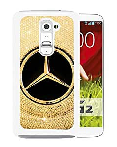 Beautiful Designed Cover Case For LG G2 With Mercedes logo White Phone Case
