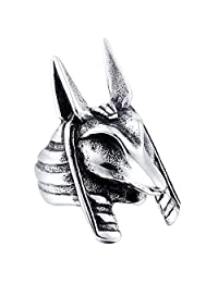 Fashion Jewelry Stainless Steel Rings, Anubis Design Punk Ring for Men Bikers