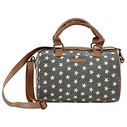Raven Cotton Satchel Star Pattern with Slip Zip Pockets and an Adjustable Strap 8
